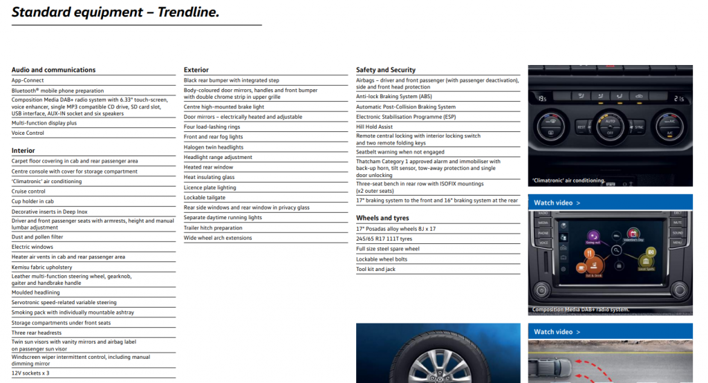 VW Amarok V6 Trendline specification