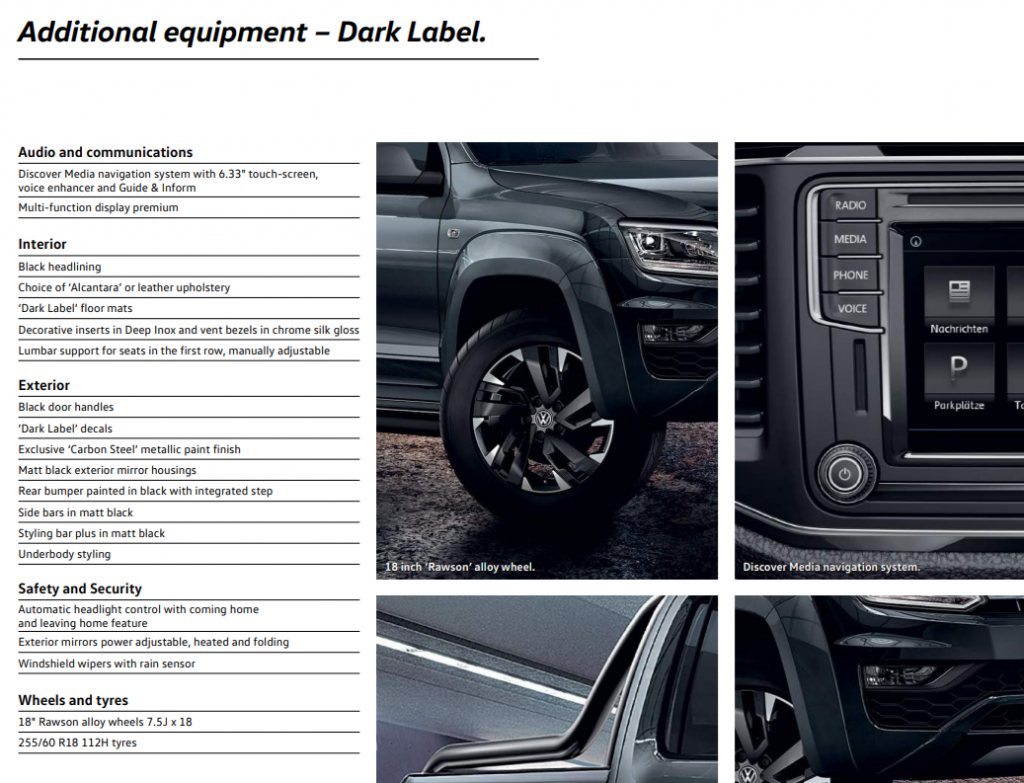VW Amarok Dark Label specification