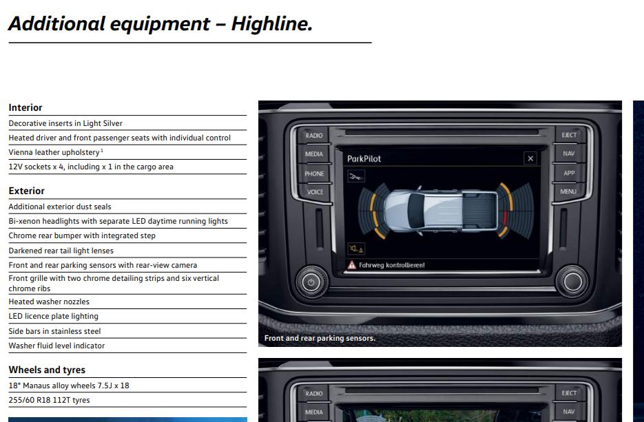 VW Amarok Highline specification