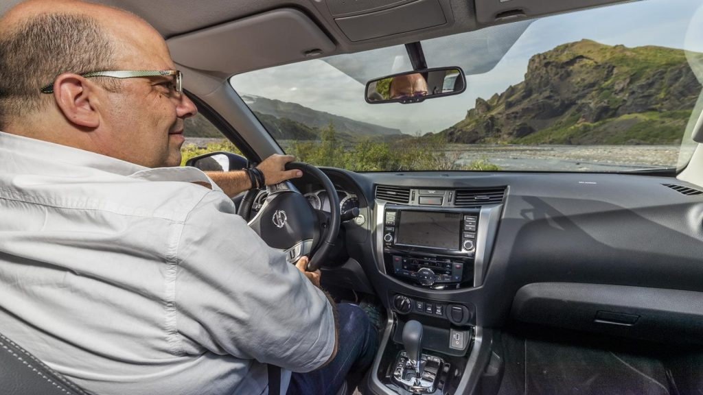 Phil Huff driving the Nissan Navara in Iceland.