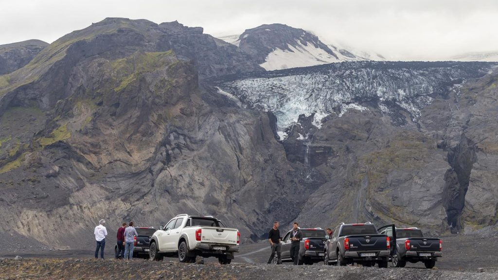 The Nissan Navara is dwarfed by Eyjafjallajökull in Iceland.