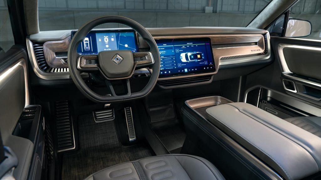 The Rivian R1T interior is fairly conventional.